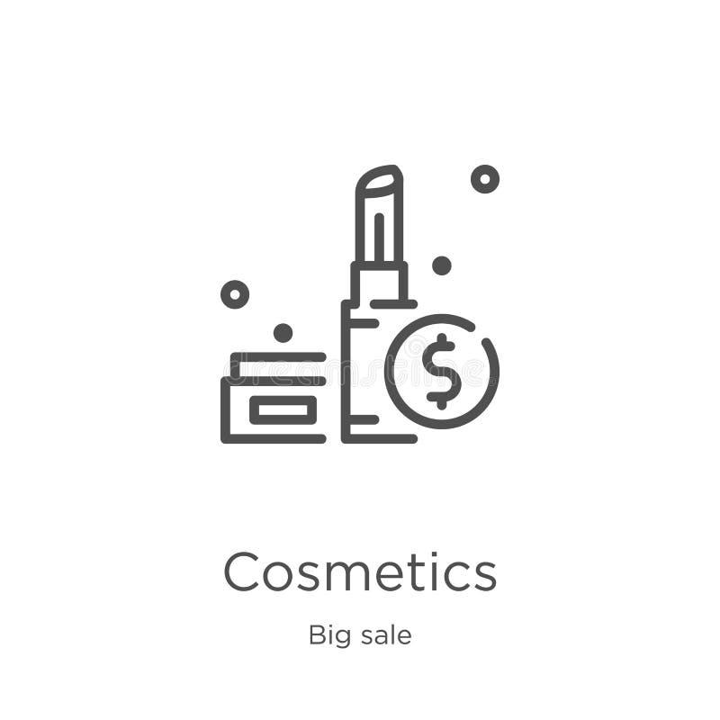 de vector van het schoonheidsmiddelenpictogram van grote verkoopinzameling De dunne van het het overzichtspictogram van lijnschoo stock illustratie