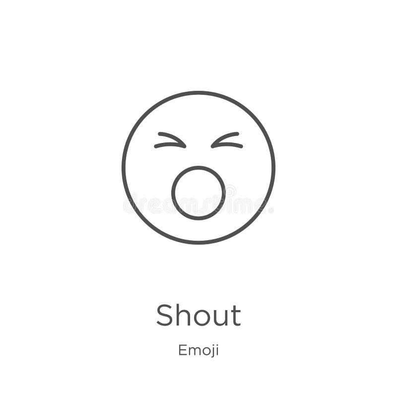 de vector van het schreeuwpictogram van emojiinzameling De dunne van het het overzichtspictogram van de lijnschreeuw vectorillust vector illustratie