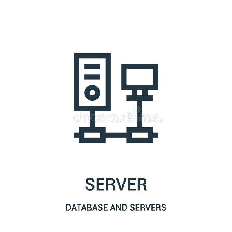 de vector van het serverpictogram van database en serversinzameling De dunne van het het overzichtspictogram van de lijnserver ve royalty-vrije illustratie