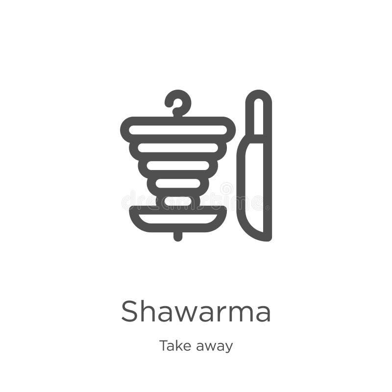 de vector van het shawarmapictogram van haalt inzameling weg De dunne van het het overzichtspictogram van lijnshawarma vectorillu vector illustratie