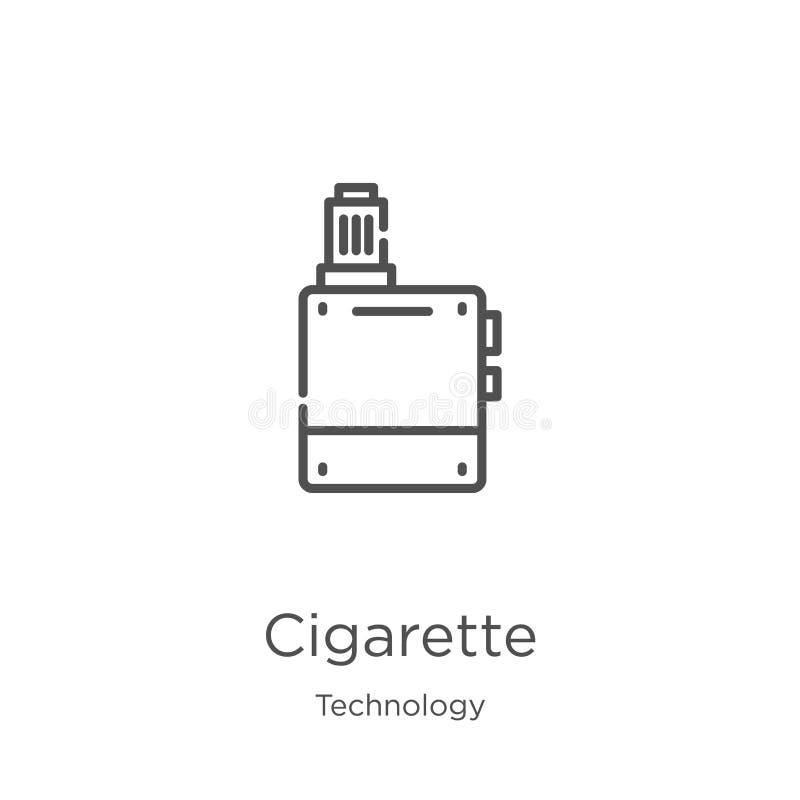 de vector van het sigaretpictogram van technologieinzameling De dunne van het het overzichtspictogram van de lijnsigaret vectoril vector illustratie