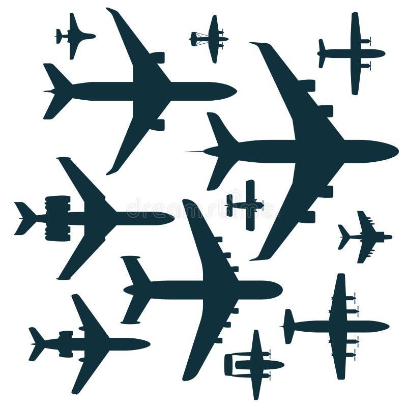 De vector van het silhouetvliegtuigen van de vliegtuigillustratie van de het vervoersreis van het de manierontwerp luchtvaart van stock illustratie