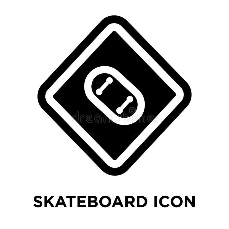 De vector van het skateboardpictogram op witte achtergrond, embleem wordt geïsoleerd dat concep stock illustratie