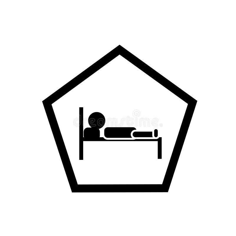 De vector van het slaapzaalpictogram op witte achtergrond, Slaapzaalsi wordt geïsoleerd dat royalty-vrije illustratie