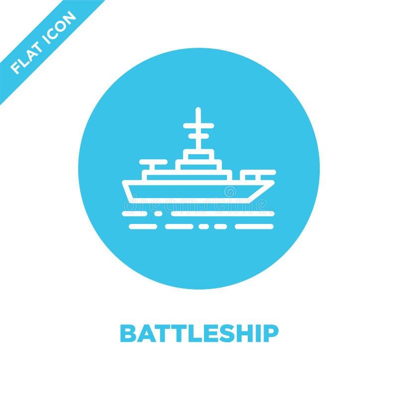 de vector van het slagschippictogram van militaire inzameling De dunne van het het overzichtspictogram van het lijnslagschip vect stock illustratie