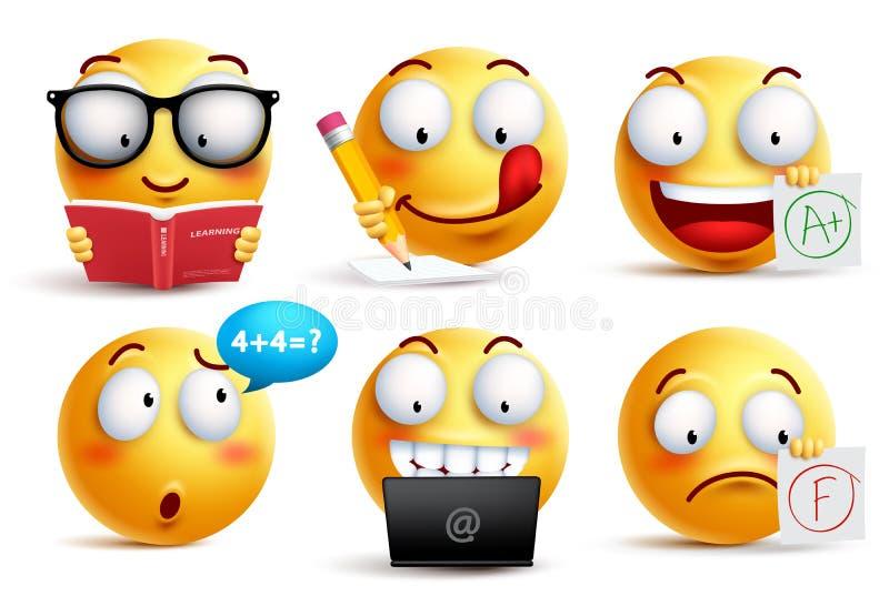 De vector van het Smileygezicht voor terug naar school met gelaatsuitdrukkingen wordt geplaatst die royalty-vrije illustratie