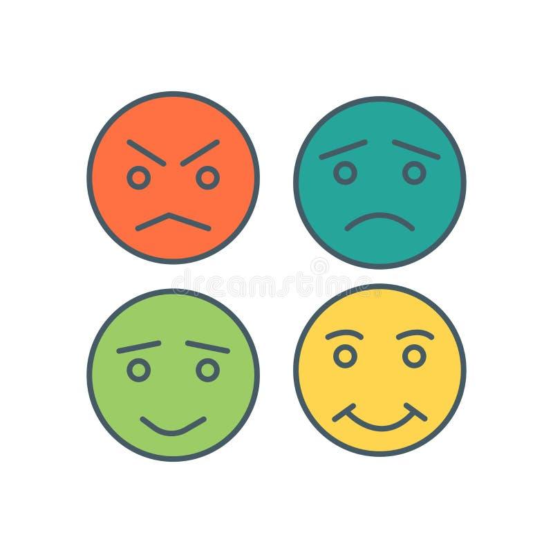 De vector van het Smileyspictogram op witte achtergrond, Smileys-teken wordt geïsoleerd dat royalty-vrije illustratie