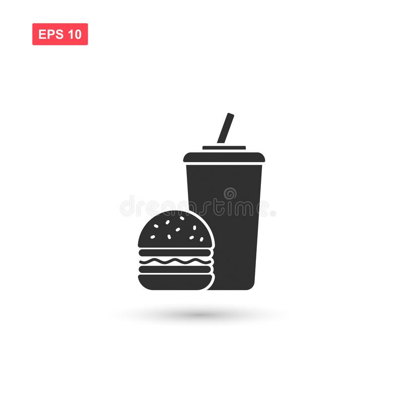 De vector van het snel voedselpictogram isoleerde 4 stock illustratie