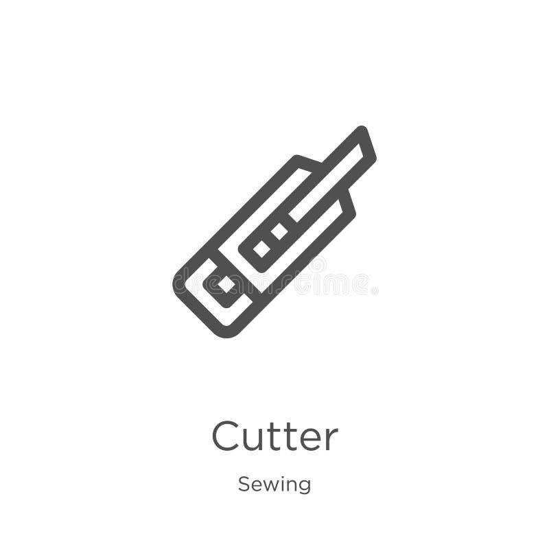 de vector van het snijderspictogram van het naaien inzameling De dunne van het het overzichtspictogram van de lijnsnijder vectori royalty-vrije illustratie