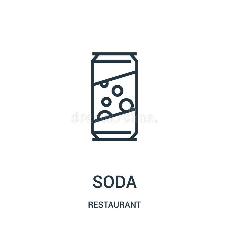 de vector van het sodapictogram van restaurantinzameling De dunne van het het overzichtspictogram van de lijnsoda vectorillustrat stock illustratie