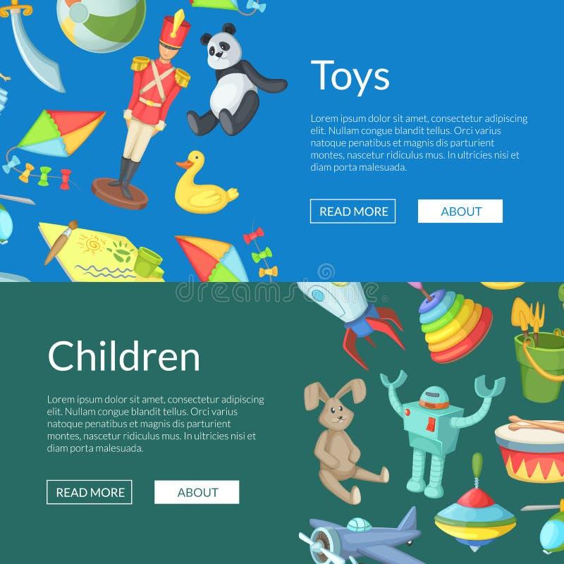 De vector van het het speelgoedweb van beeldverhaalkinderen illustratie van de bannermalplaatjes stock illustratie
