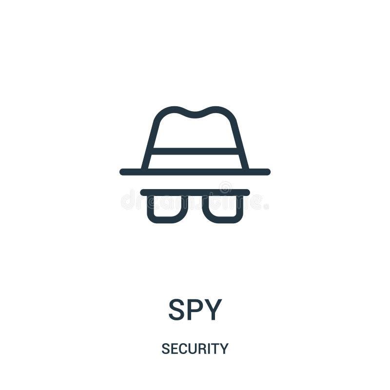 de vector van het spionpictogram van veiligheidsinzameling De dunne van het het overzichtspictogram van de lijnspion vectorillust stock illustratie
