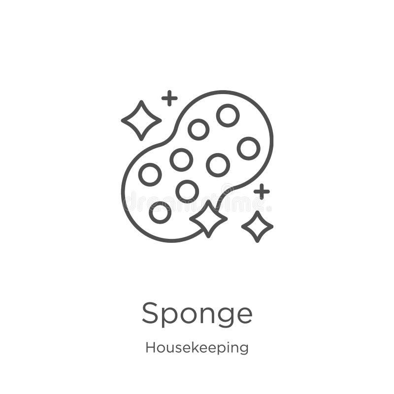 de vector van het sponspictogram van huishoudeninzameling r Overzicht, het dunne pictogram van de lijnspons royalty-vrije illustratie