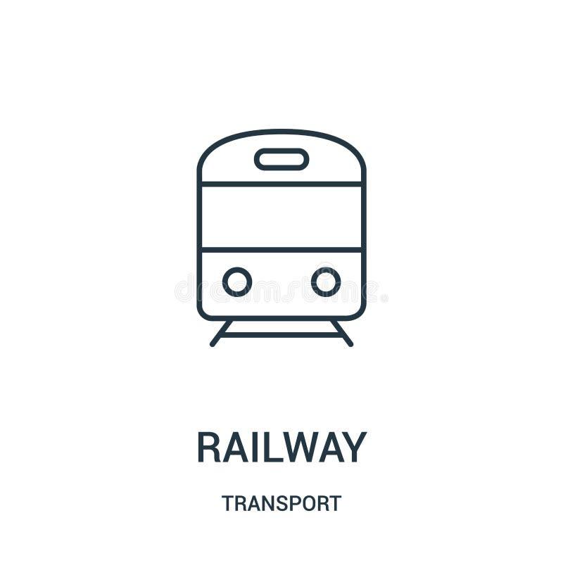 de vector van het spoorwegpictogram van vervoerinzameling De dunne van het het overzichtspictogram van de lijnspoorweg vectorillu stock illustratie