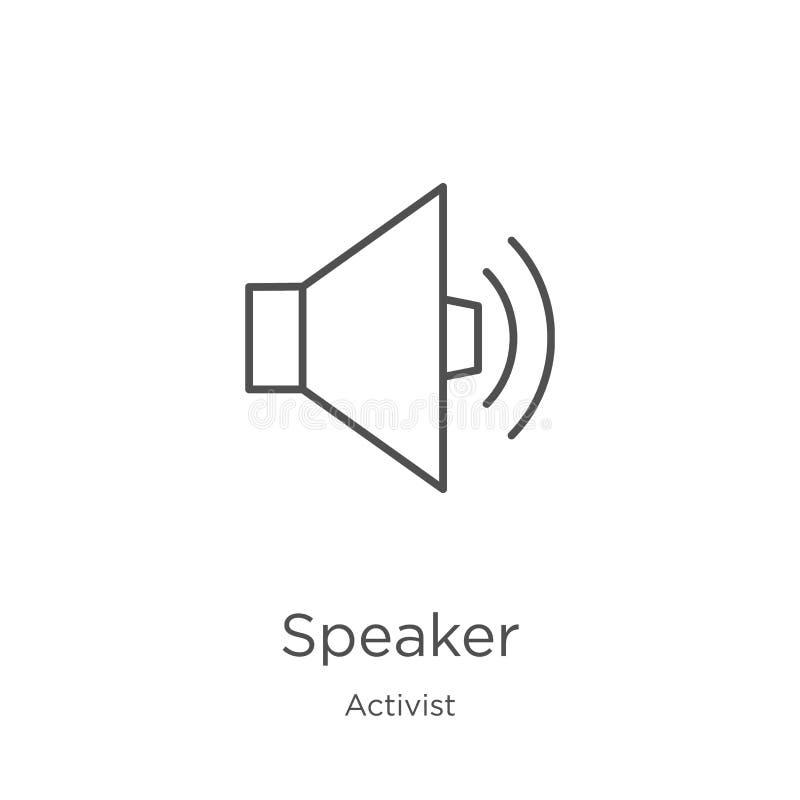 de vector van het sprekerspictogram van activisteninzameling De dunne van het het overzichtspictogram van de lijnspreker vectoril stock illustratie