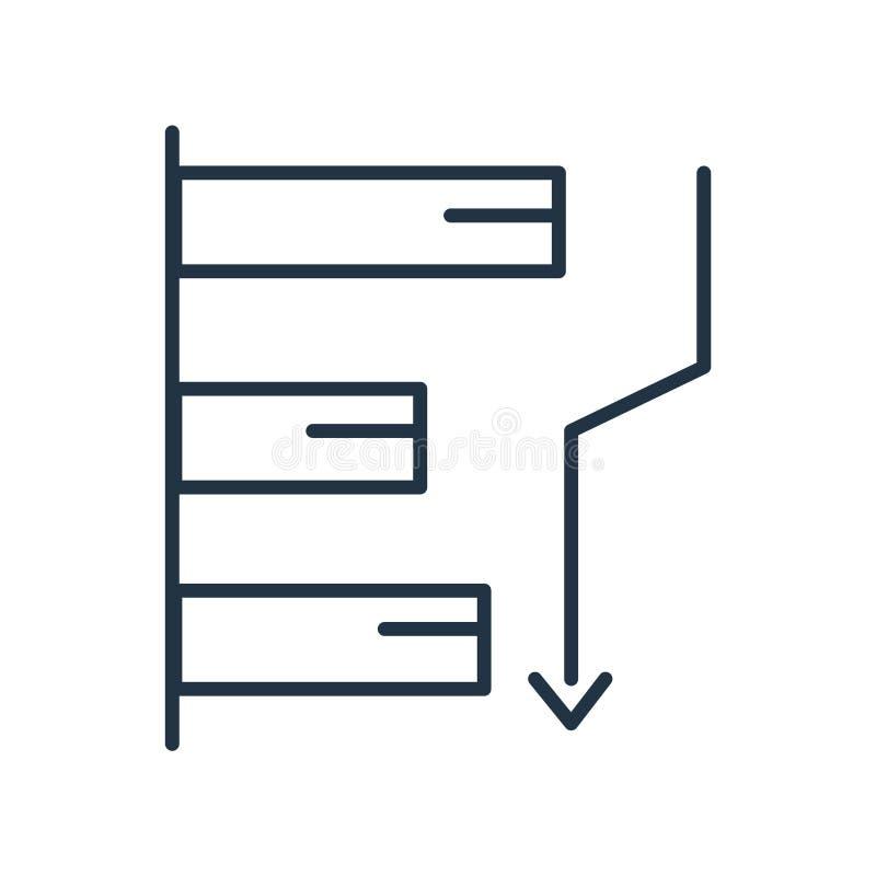 De vector van het staafdiagrampictogram op witte achtergrond, Staafdiagramteken wordt geïsoleerd dat stock illustratie