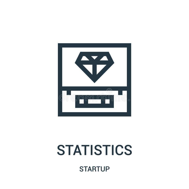 de vector van het statistiekenpictogram van startinzameling De dunne van het het overzichtspictogram van lijnstatistieken vectori stock illustratie