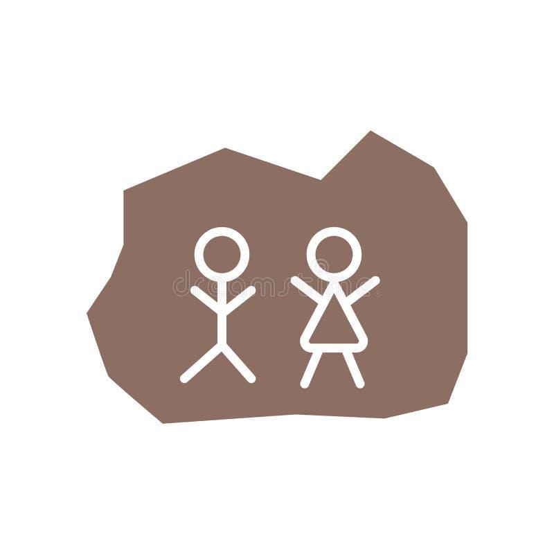 De vector van het steenpictogram op witte achtergrond, Steenteken, de historische symbolen dat van de steenleeftijd wordt geïsole vector illustratie