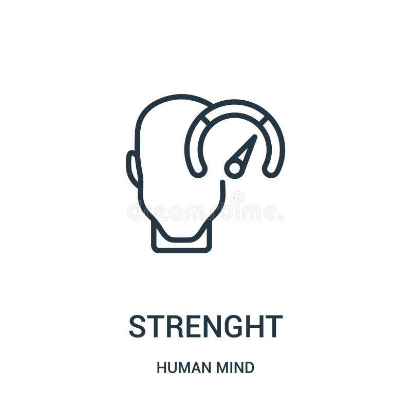 de vector van het sterktepictogram van menselijke meningsinzameling De dunne van het het overzichtspictogram van de lijnsterkte v vector illustratie