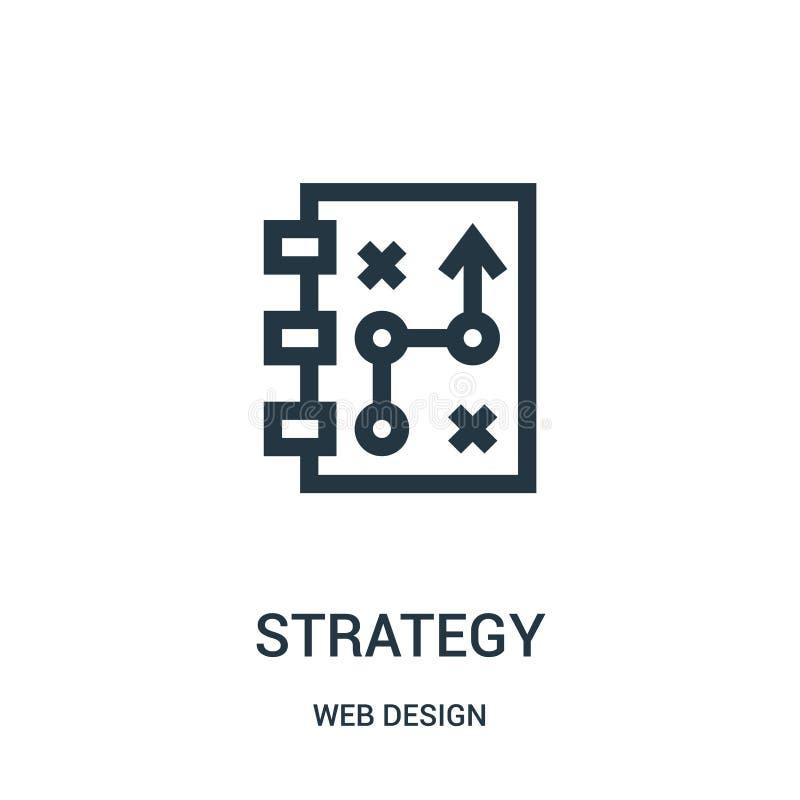 de vector van het strategiepictogram van de inzameling van het Webontwerp De dunne van het het overzichtspictogram van de lijnstr royalty-vrije illustratie