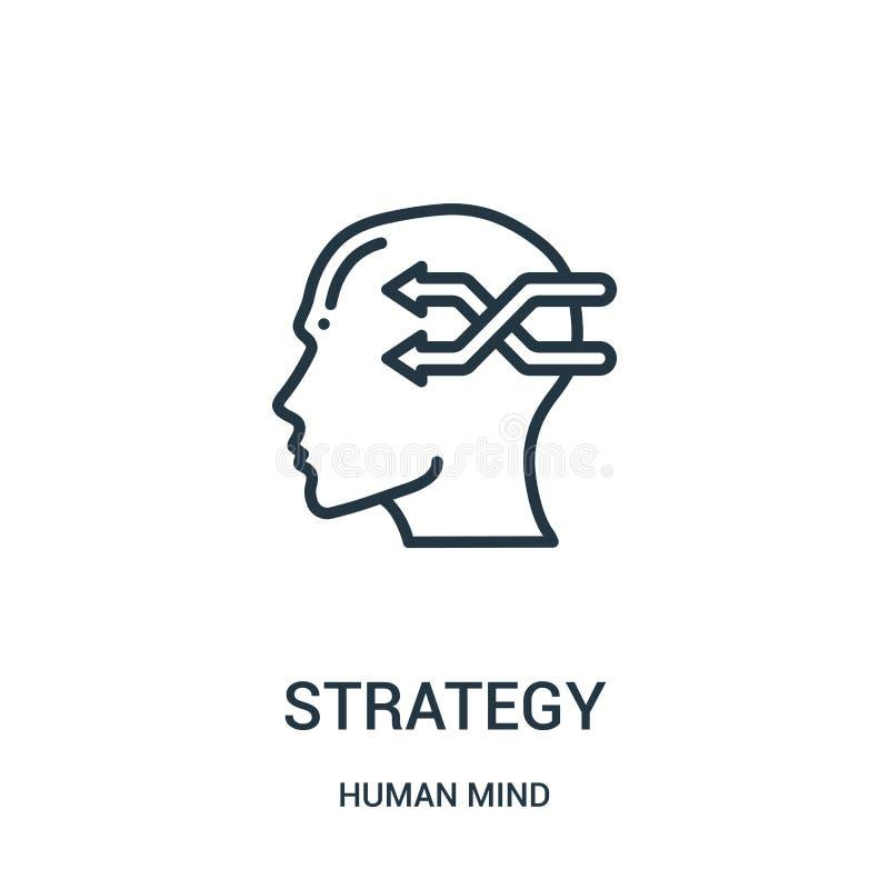 de vector van het strategiepictogram van menselijke meningsinzameling De dunne van het het overzichtspictogram van de lijnstrateg royalty-vrije illustratie