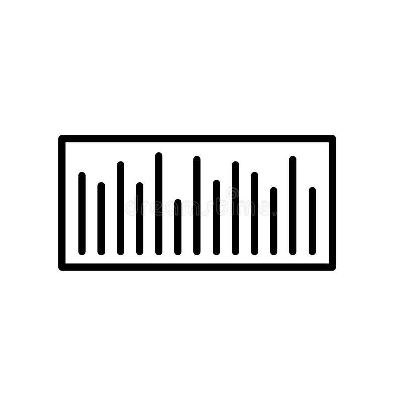 De vector van het streepjescodepictogram op witte achtergrond, streepjescodeteken, lijn of lineair teken, elementenontwerp in ove stock illustratie
