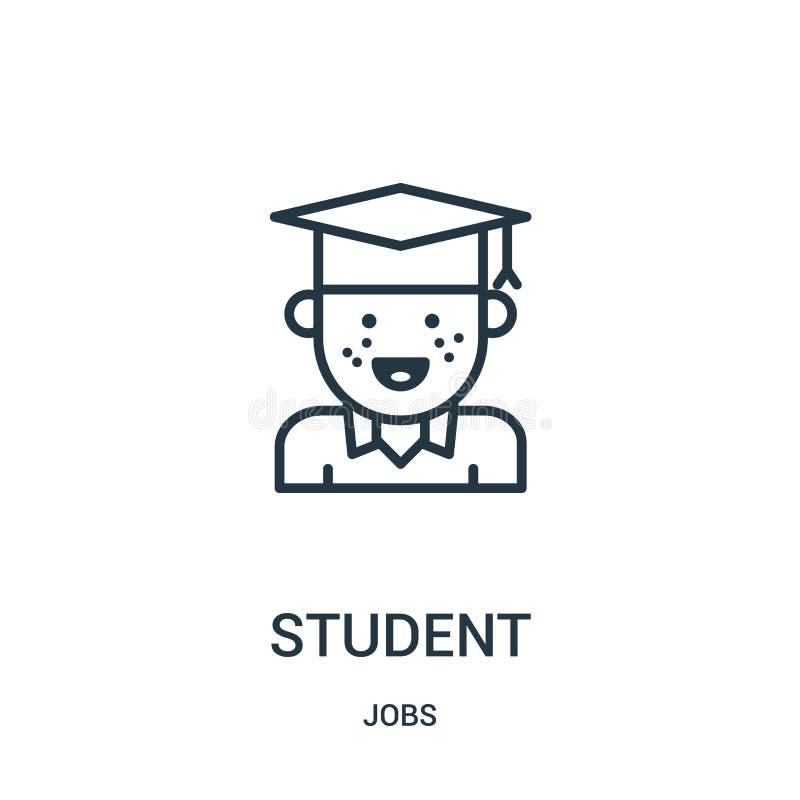 de vector van het studentenpictogram van baneninzameling De dunne van het het overzichtspictogram van de lijnstudent vectorillust royalty-vrije illustratie