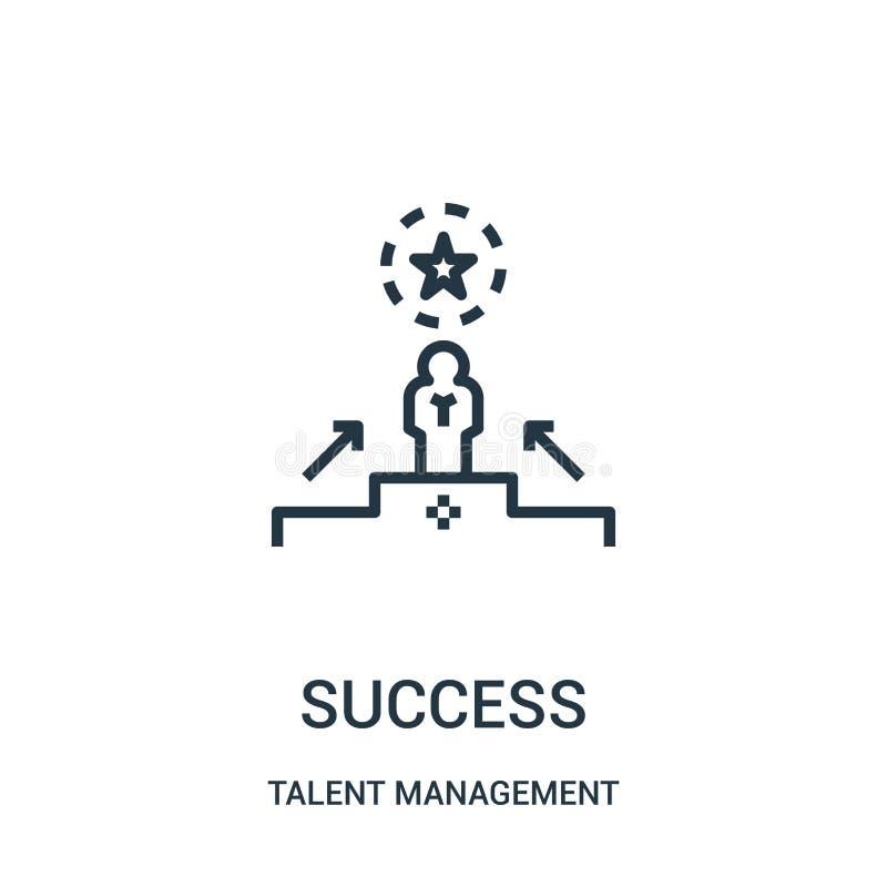 de vector van het succespictogram van de inzameling van het talentenbeheer De dunne van het het overzichtspictogram van het lijns vector illustratie
