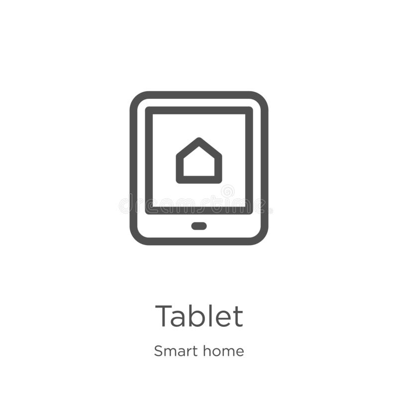 de vector van het tabletpictogram van slimme huisinzameling De dunne van het het overzichtspictogram van de lijntablet vectorillu vector illustratie