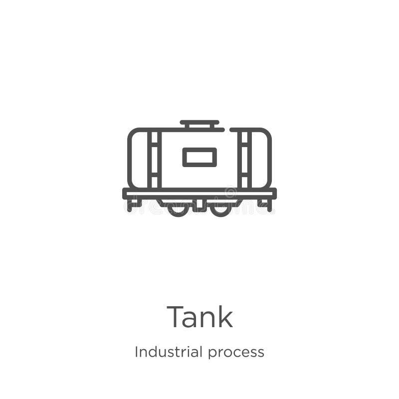 de vector van het tankpictogram van industrieel procesinzameling r Overzicht, het dunne pictogram van de lijntank royalty-vrije illustratie