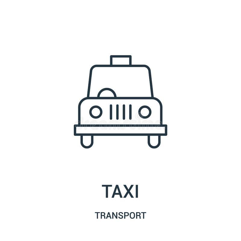 de vector van het taxipictogram van vervoerinzameling De dunne van het het overzichtspictogram van de lijntaxi vectorillustratie royalty-vrije illustratie