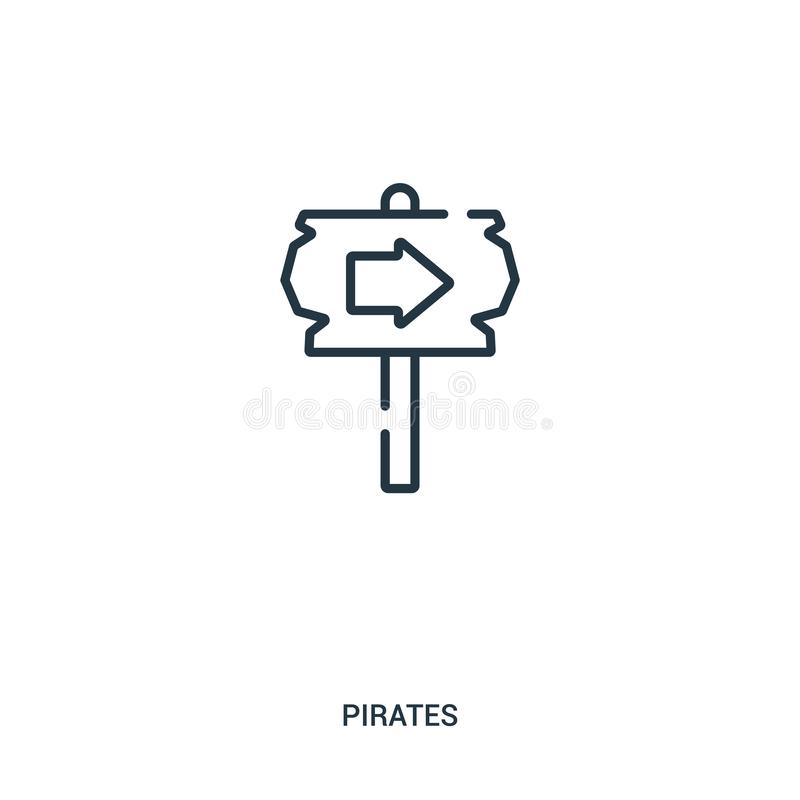 de vector van het tekenpictogram van pirateninzameling De dunne van het het overzichtspictogram van het lijnteken vectorillustrat stock illustratie