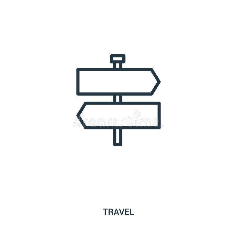 de vector van het tekenpictogram van reisinzameling De dunne van het het overzichtspictogram van het lijnteken vectorillustratie  stock illustratie