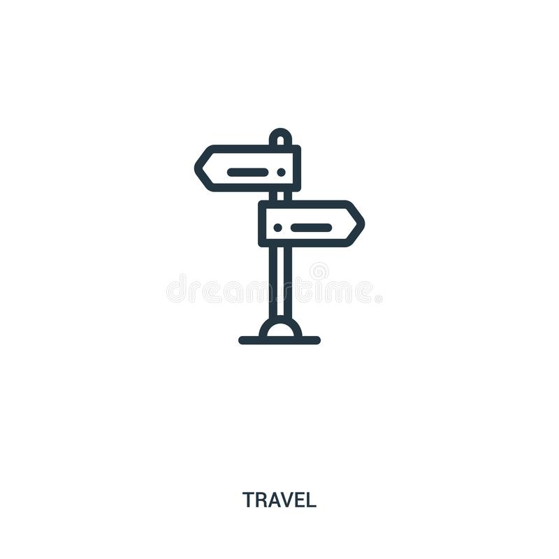 de vector van het tekenpictogram van reisinzameling De dunne van het het overzichtspictogram van het lijnteken vectorillustratie  royalty-vrije illustratie