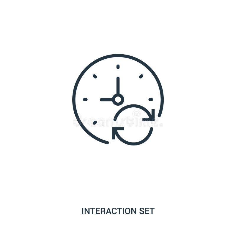 de vector van het tekenspictogram van interactie vastgestelde inzameling De dunne van het het overzichtspictogram van lijntekens  vector illustratie