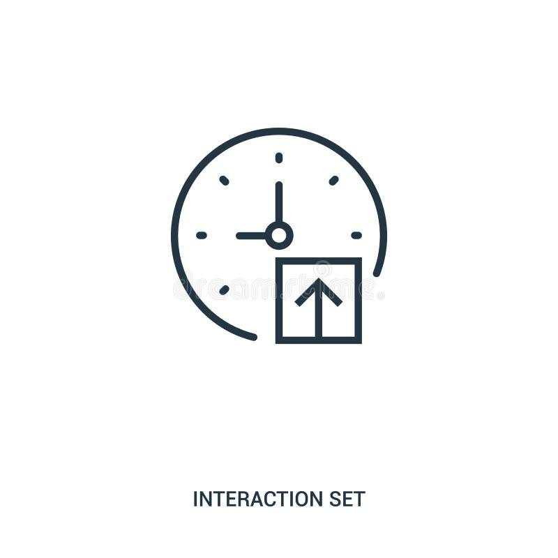 de vector van het tekenspictogram van interactie vastgestelde inzameling De dunne van het het overzichtspictogram van lijntekens  royalty-vrije illustratie