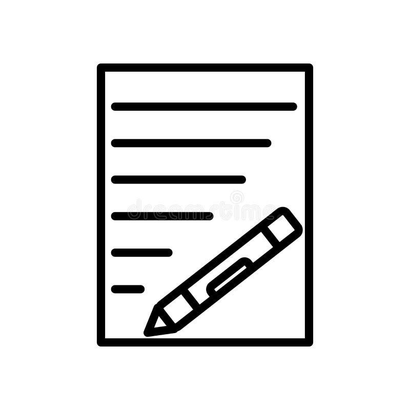 De vector van het tekstpictogram op witte elementen als achtergrond, van het Tekstteken, van de lijn en van het overzicht in line vector illustratie