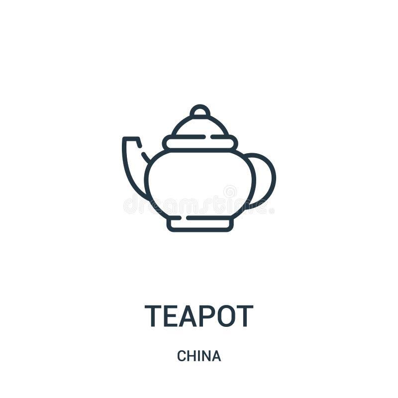 de vector van het theepotpictogram van de inzameling van China De dunne van het het overzichtspictogram van de lijntheepot vector stock illustratie