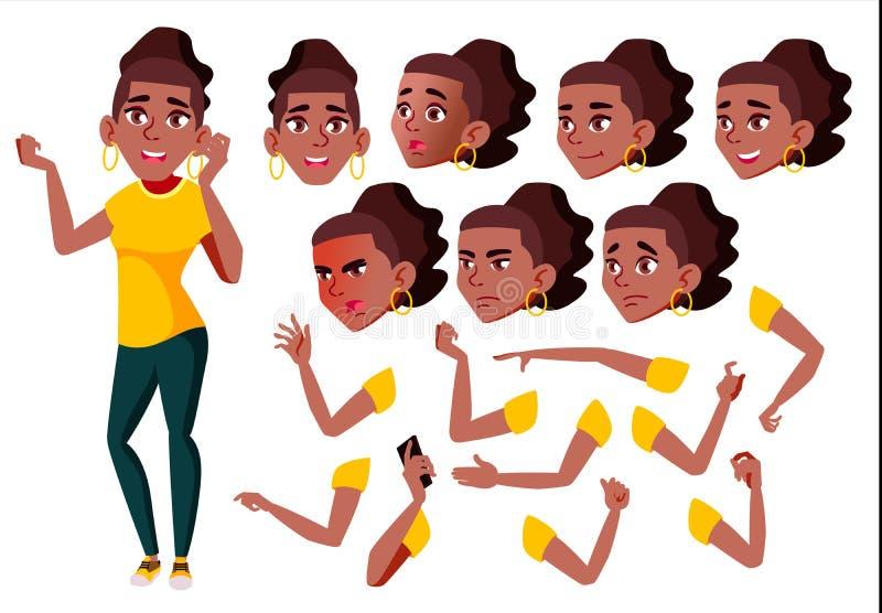De Vector van het tienermeisje zwart Afro Amerikaan tiener Positieve persoon Gezichtsemoties, Diverse Gebaren Animatieverwezenlij royalty-vrije illustratie