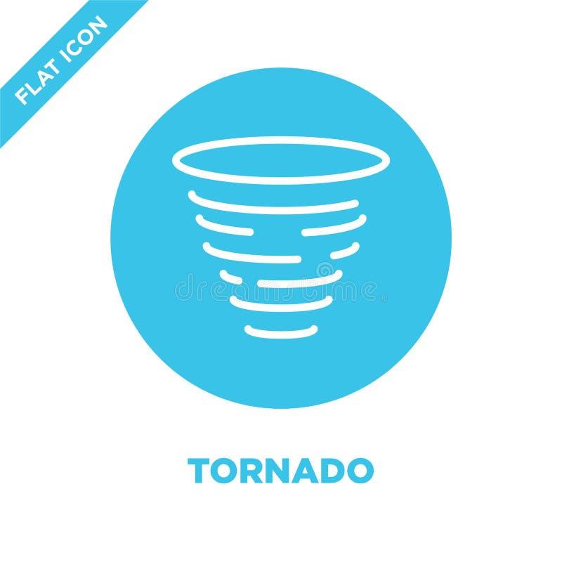 de vector van het tornadopictogram van weerinzameling De dunne van het het overzichtspictogram van de lijntornado vectorillustrat royalty-vrije illustratie