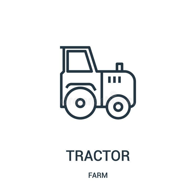 de vector van het tractorpictogram van landbouwbedrijfinzameling De dunne van het het overzichtspictogram van de lijntractor vect stock illustratie