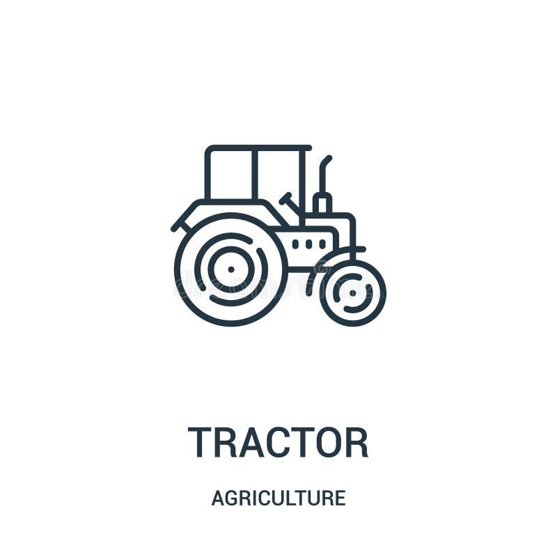de vector van het tractorpictogram van landbouwinzameling De dunne van het het overzichtspictogram van de lijntractor vectorillus stock illustratie