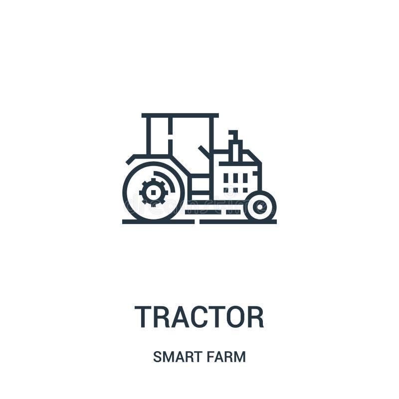 de vector van het tractorpictogram van slimme landbouwbedrijfinzameling De dunne van het het overzichtspictogram van de lijntract royalty-vrije illustratie