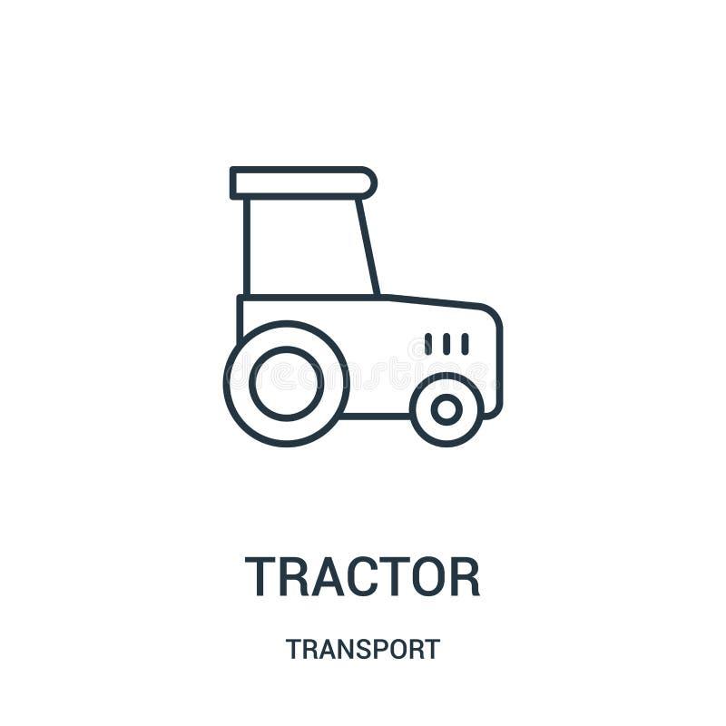 de vector van het tractorpictogram van vervoerinzameling De dunne van het het overzichtspictogram van de lijntractor vectorillust stock illustratie