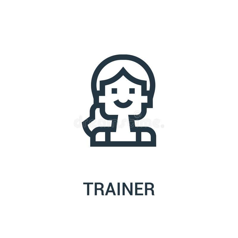 de vector van het trainerpictogram van gymnastiekinzameling De dunne van het het overzichtspictogram van de lijntrainer vectorill stock illustratie