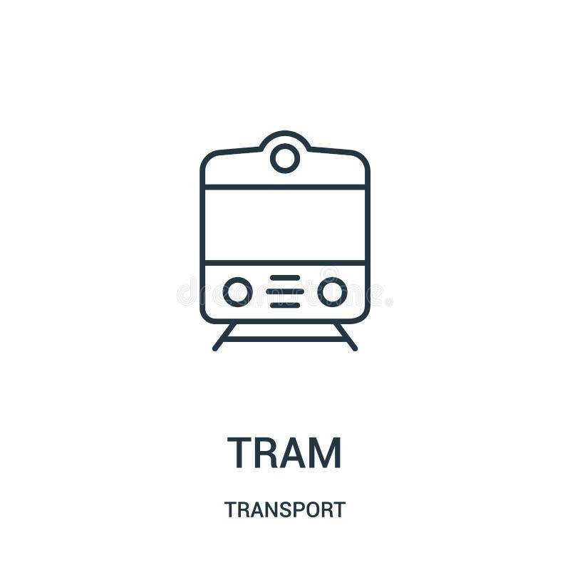 de vector van het trampictogram van vervoerinzameling De dunne van het het overzichtspictogram van de lijntram vectorillustratie royalty-vrije illustratie