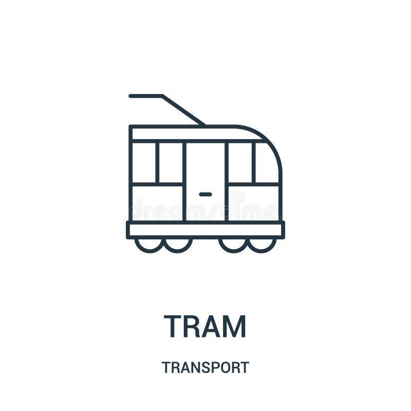 de vector van het trampictogram van vervoerinzameling De dunne van het het overzichtspictogram van de lijntram vectorillustratie stock illustratie