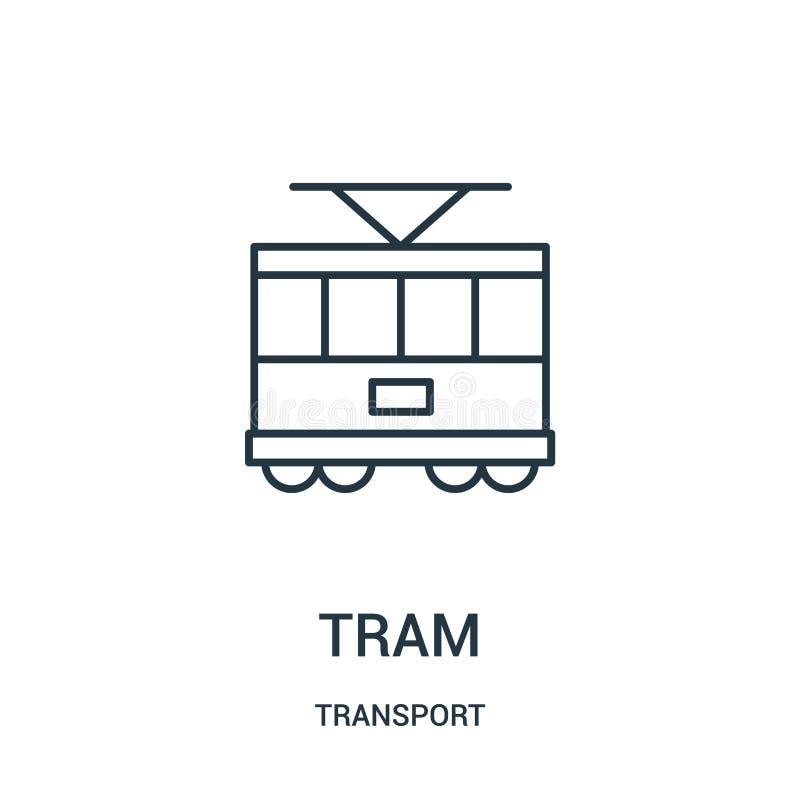de vector van het trampictogram van vervoerinzameling De dunne van het het overzichtspictogram van de lijntram vectorillustratie vector illustratie