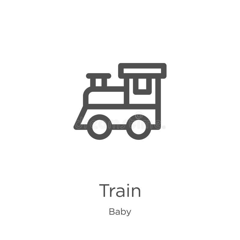 de vector van het treinpictogram van babyinzameling De dunne van het het overzichtspictogram van de lijntrein vectorillustratie O vector illustratie