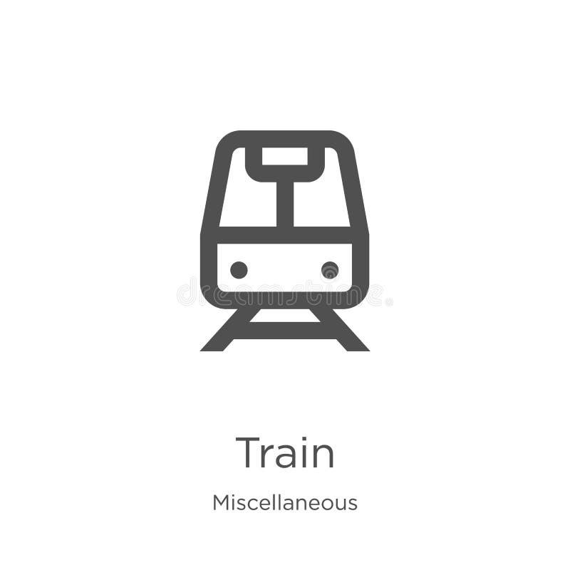 de vector van het treinpictogram van diverse inzameling De dunne van het het overzichtspictogram van de lijntrein vectorillustrat royalty-vrije illustratie